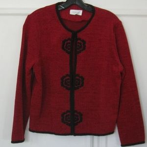 Vintage Koret dressy jacket, red/black, Sz M